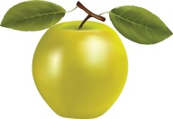 Drawn Green Apple with Leaves