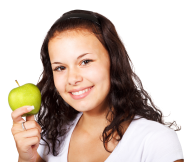 Female Model with Apple Png Free Download