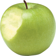 Green Apple Bitten On Left Side Png