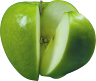 Green Apple Png with cutted Piece