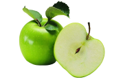 Green Apple Png With Leaves And Sliced