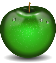 Photoshop drawn apple in png