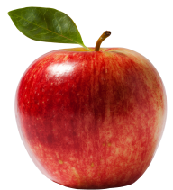 Red Round Apple with Leaves Png