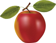 Reddish Apple Clipart with leaves