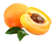Sliced Apricot Png With Apricot Leaves