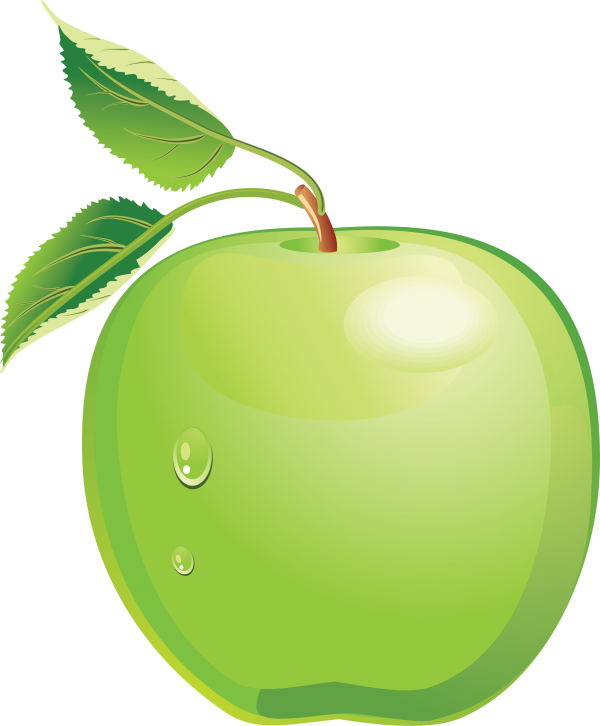 Apple Fruit Icon with a Water Drop Png