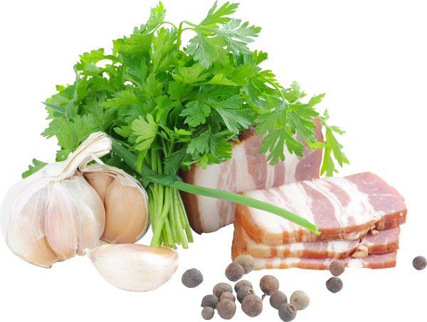 Bacon png with coriander leaves