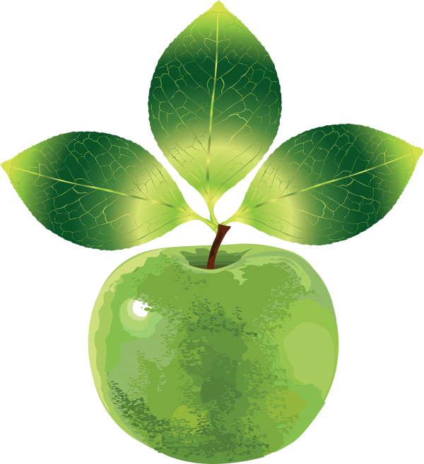Clipart Apple With Three Leaves Png