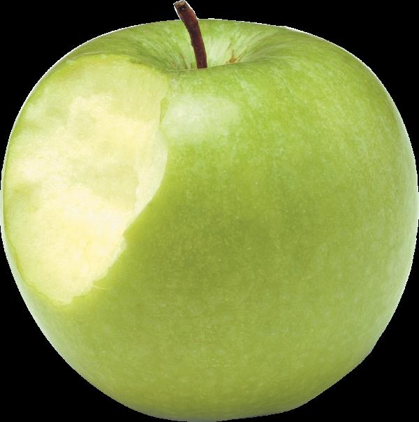 Green Apple Bitten On Left Side Png