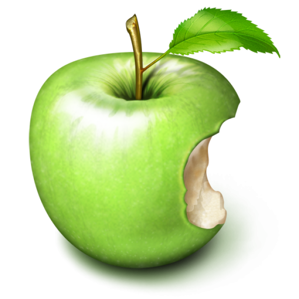 Green Bitten Apple Png for Free Download