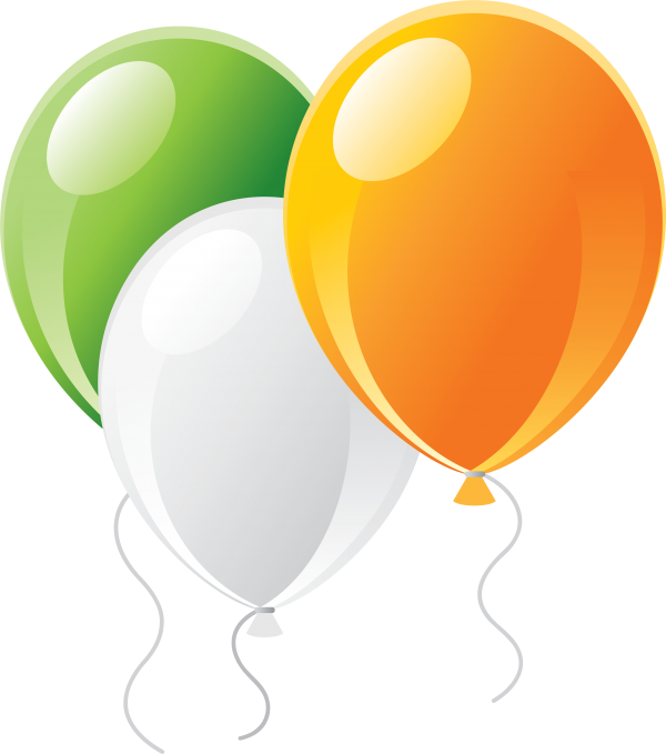 Green white and Orange Balloon Png