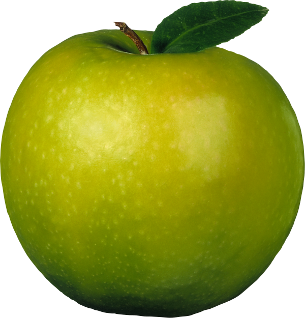 Greenish Apple with Single Leaf