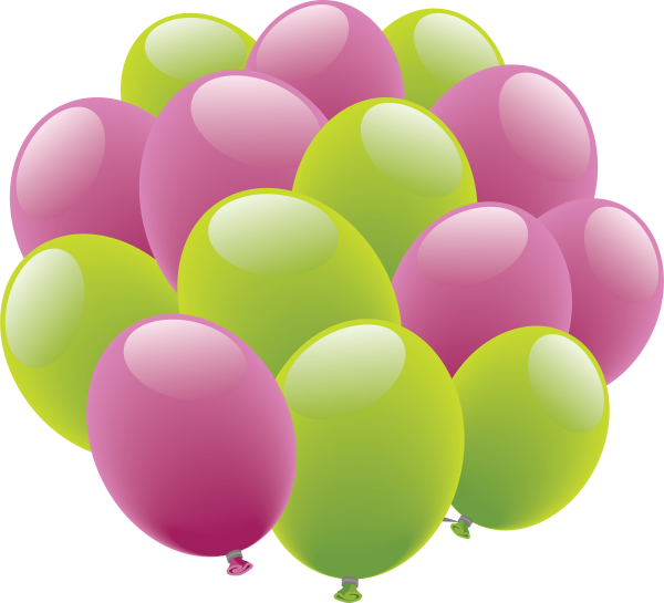 Lavender and Green Balloons Png