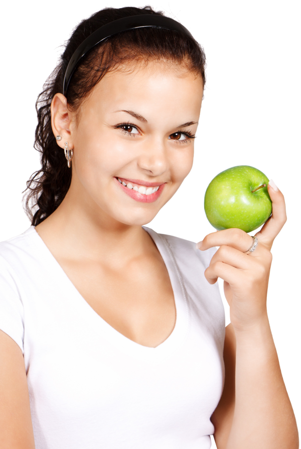 Model with an Apple Fruit Png