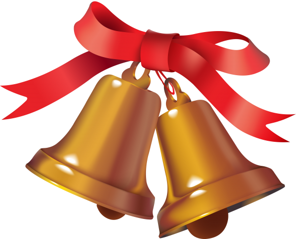 Png Christmas Bell with Red Ribbon Knotted