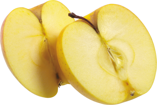 Yellow Apple Png Half Sliced
