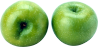 Two Green Apple Png showing Two sides